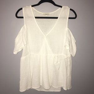 Lucky Brand Cold Shoulder Wrap Top